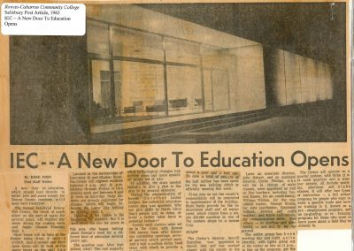 Rowan Industrial Education Center opens August 26, 1963.  Article from the Salisbury Post, August 25, 1963.
