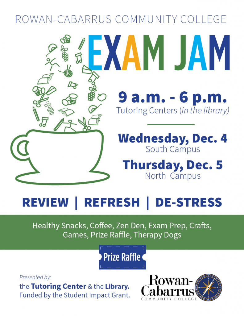 Flyer announcing Exam Jam at South Campus
