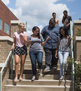 Students walking down South Campus steps