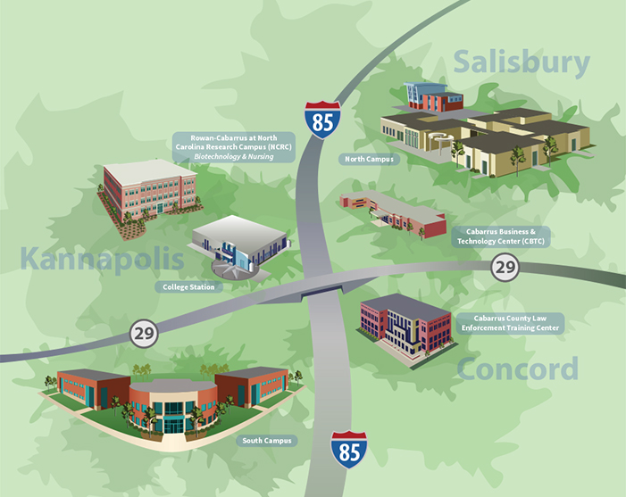 Cpcc Main Campus Map.Rowan Cabarrus Community College Rowan Cabarrus